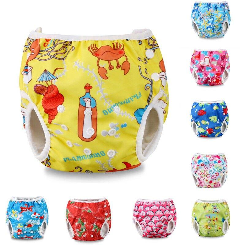 Pañales de bebé de dibujos animados para nadar pañales reutilizable a prueba de fugas pañales ajustables para bebés