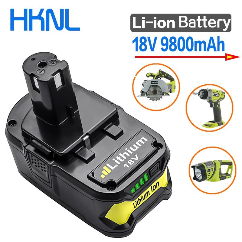 Alta capacidade novo 18 v 9800 mah li-ion para ryobi quente p108 rb18l40 bateria recarregável bateria ferramenta elétrica ryobi um + venda quente