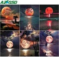 AZQSD     peinture a lhuile par numeros de lune  dessin sur toile  sans cadre  coloriage par numeros  peinture acrylique de paysage  decoration de maison  DIY bricolage