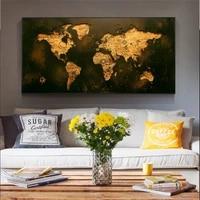 large retro map golden world map poster and print cuadros canvas painting wall art for living room home decor no frame