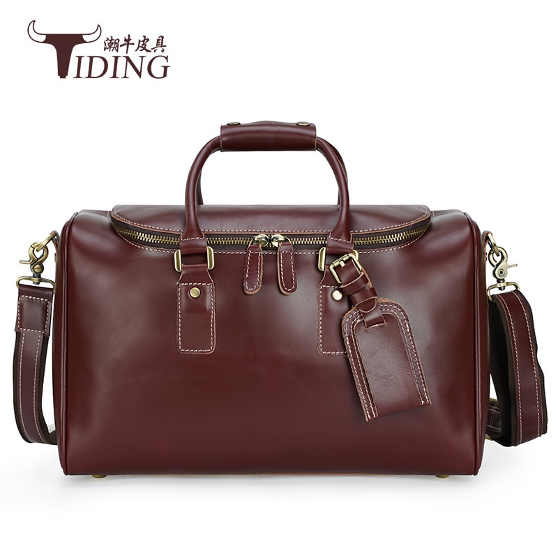 Man Travel Duffle Bags Genuine Leather Large Capacity Business Fashion  Casual Hand Tote Bag