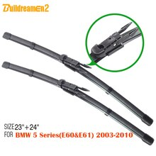 Buildreamen2 1 Pair Soft Rubber Car Windshield Wiper Blade Windscreen Wiper Blades For BMW 5 Series (E60 & E61) 2003-2010