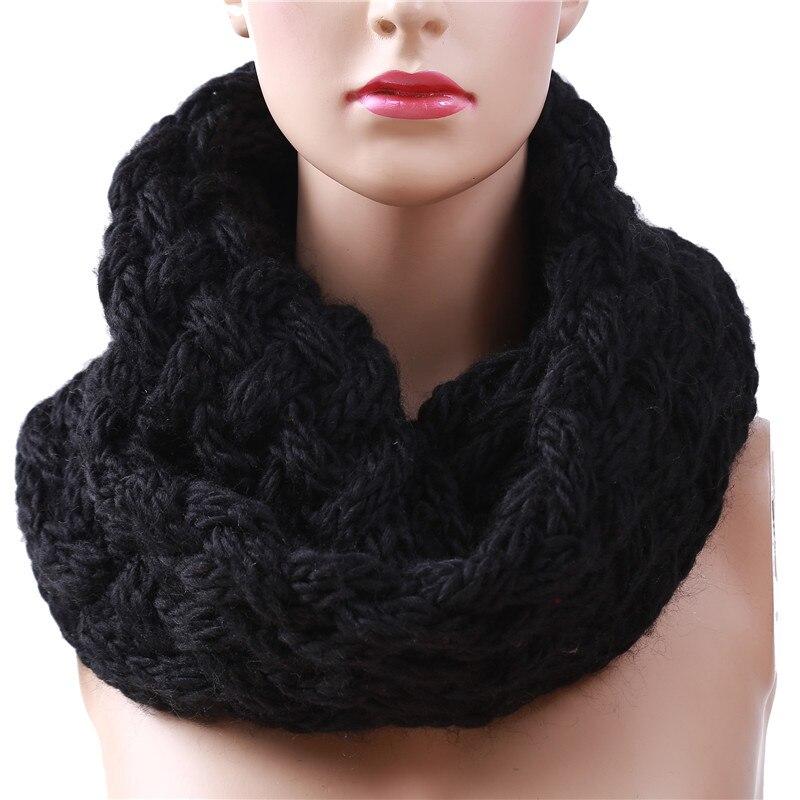 Las mujeres pañuelo Color liso bufandas de invierno de punto cálido Snood...