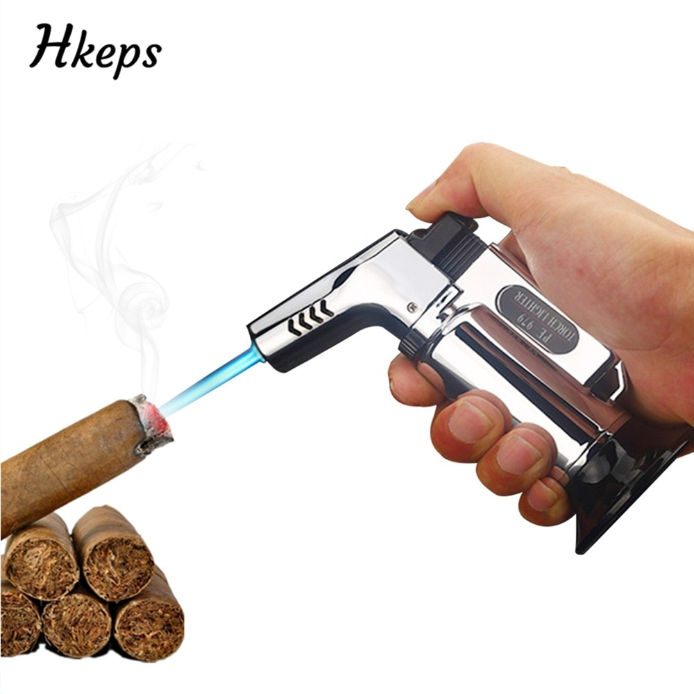 Lighter Cigar Torch Turbo Lighter Jet Butane Gas Cigarette Spray Gun Windproof Metal Pipe Lighter For Kitchen Outdoor BBQ Tools