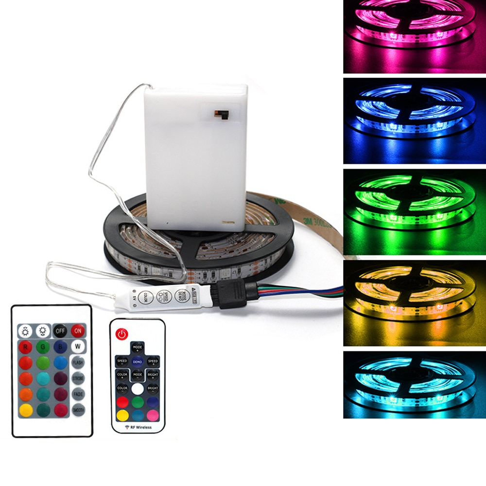 DC5V 5050 RGB LED Strip Light Remote Control Battery Powed Waterproof LED Ribbon Tape Flex Led Light Home Decoration