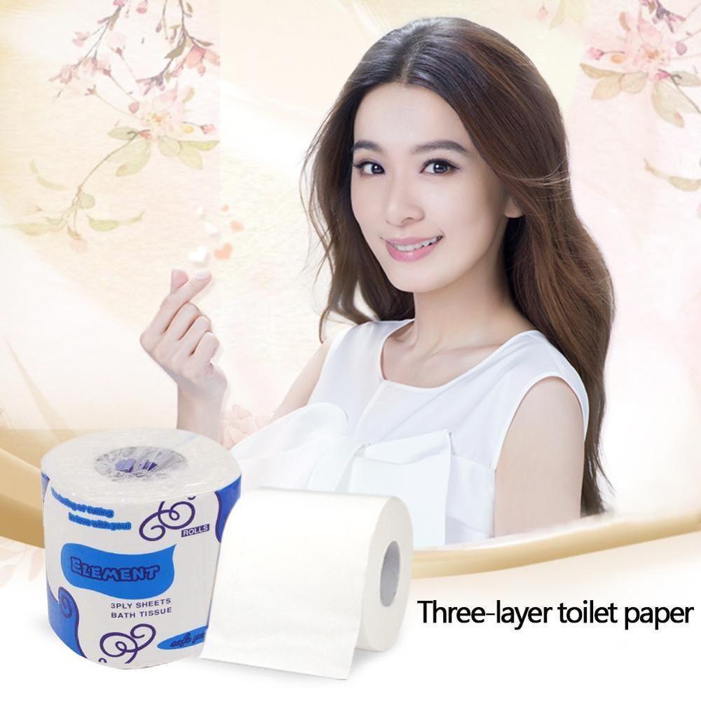 Papel higiénico blanco suave y sedoso rollo de papel higiénico 3 capas sedosas de limpieza absorbentes papel higiénico familiar de alta calidad