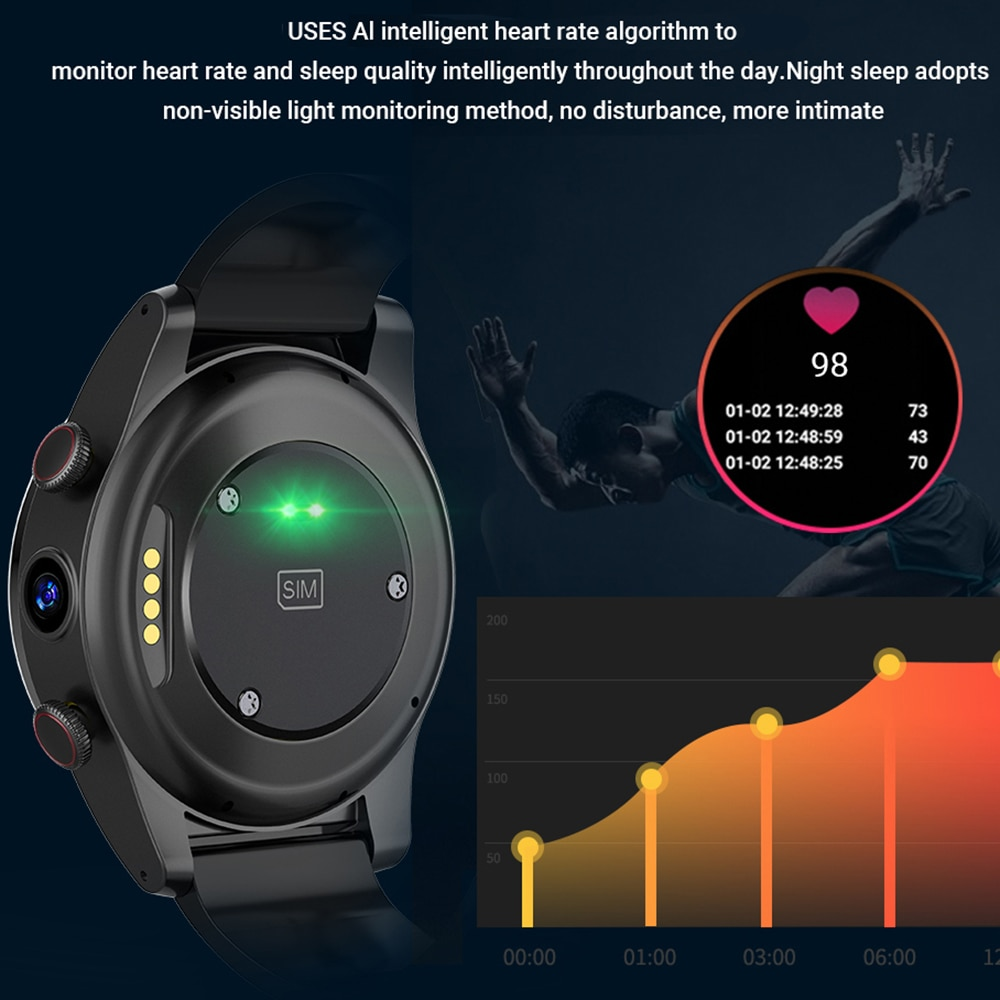 2021 New IP68 5ATM Waterproof 4G Smart Watch Men 4GB 64GB Dual Camera 13MP Android OS 10 Smartwatch WIFI GPS Sport Phone Watch