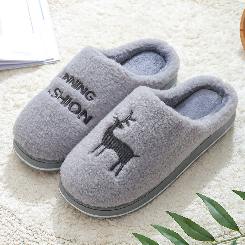 Couple Winter Home Slippers Unisex Cartoon Cat Shoes Non-slip Soft Winter Warm House Slippers Indoor Bedroom mens Floor Shoes