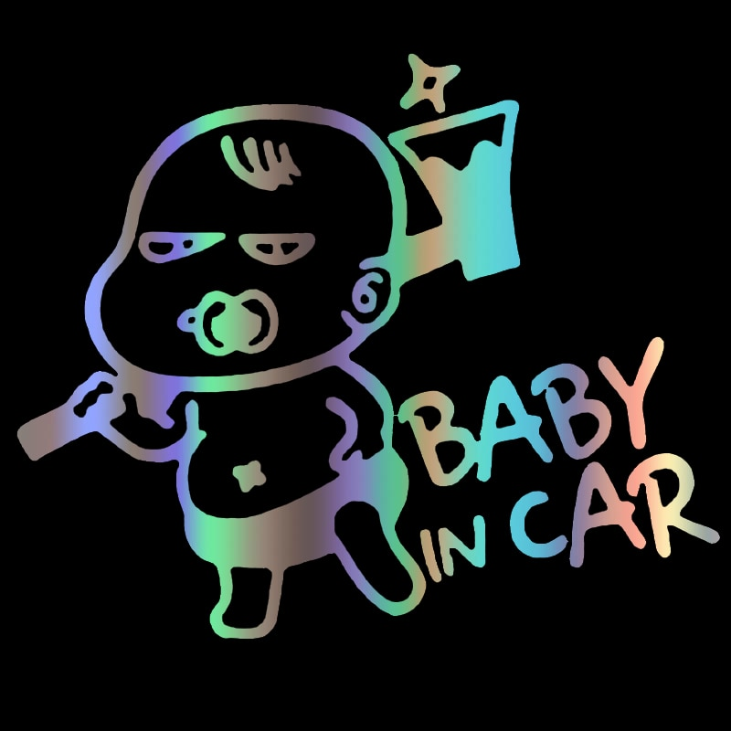 CS-1736# baby in car reflective funny car sticker waterproof vinyl decal for auto car stickers styling removable noizzy hades member ho dragon shield car sticker auto rear windshield decal vinyl reflective automobile white tuning car styling