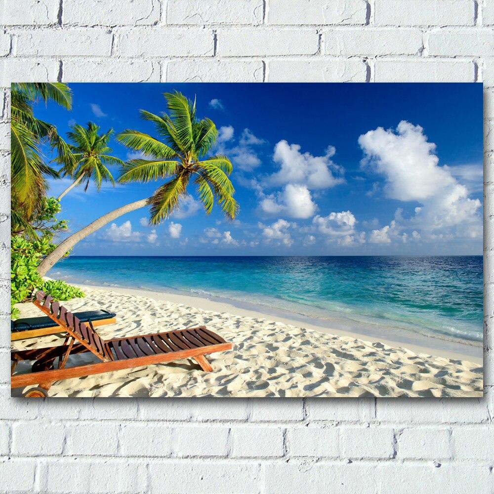Playa Horizon, palmera, arena, cielo marino, paisaje tropical, arte de pared, carteles impresiones en lienzo, pinturas de seda para decoración para sala de estar
