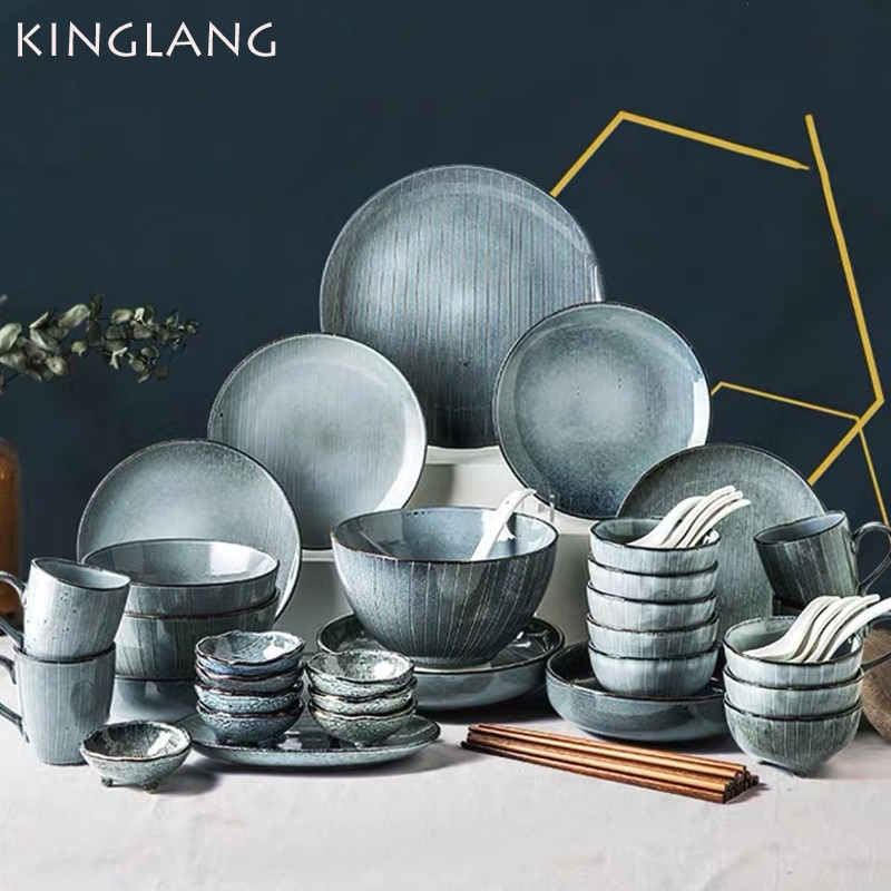 KINGLANG طقم عشاء سيراميك بالجملة بروسلين اليابانية تصميم لوحات مجموعة مطعم السلطانية طبق القدح