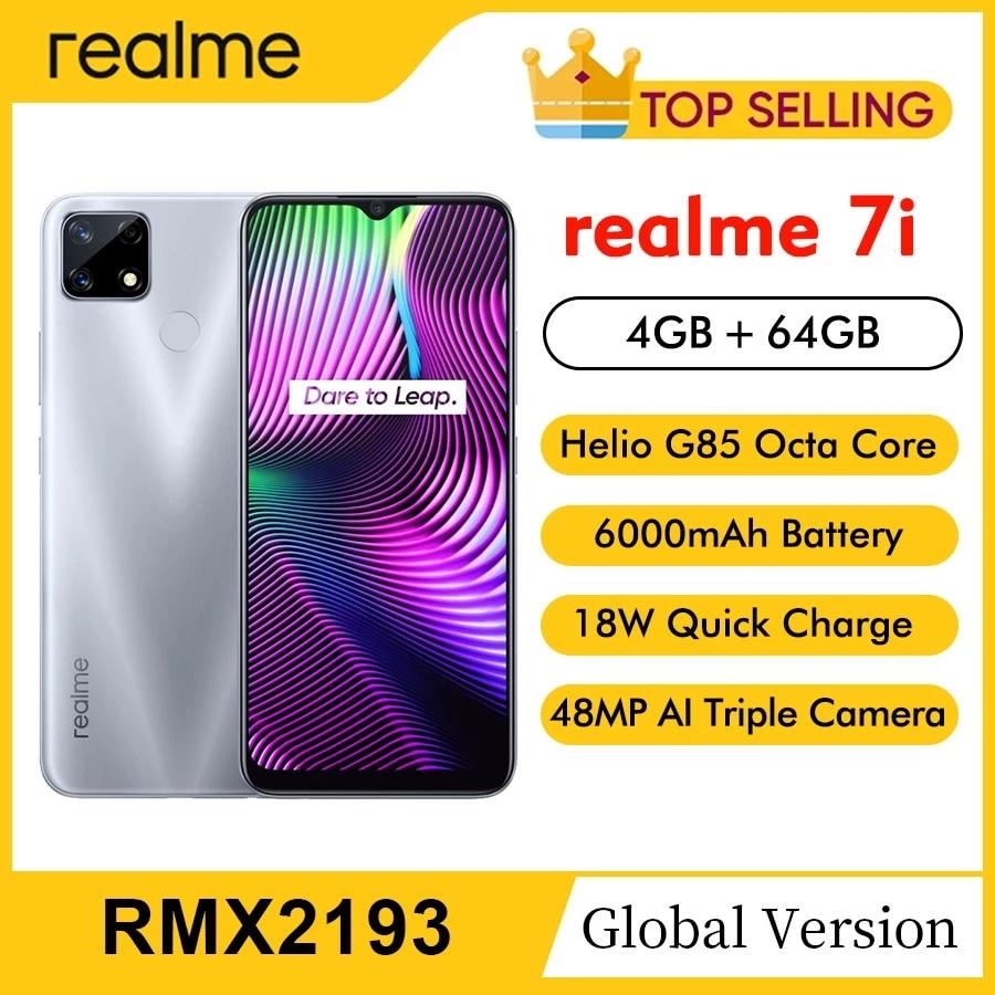 Перейти на Алиэкспресс и купить Оригинальный Realme 7i RMX2193 6,5 дюймдюйм HD 4 Гб 64 Гб 48MP смартфон Helio G85 Octa Core Android 10 мобильного телефона 6000 мА/ч, 4G, LTE, мобильный телефон
