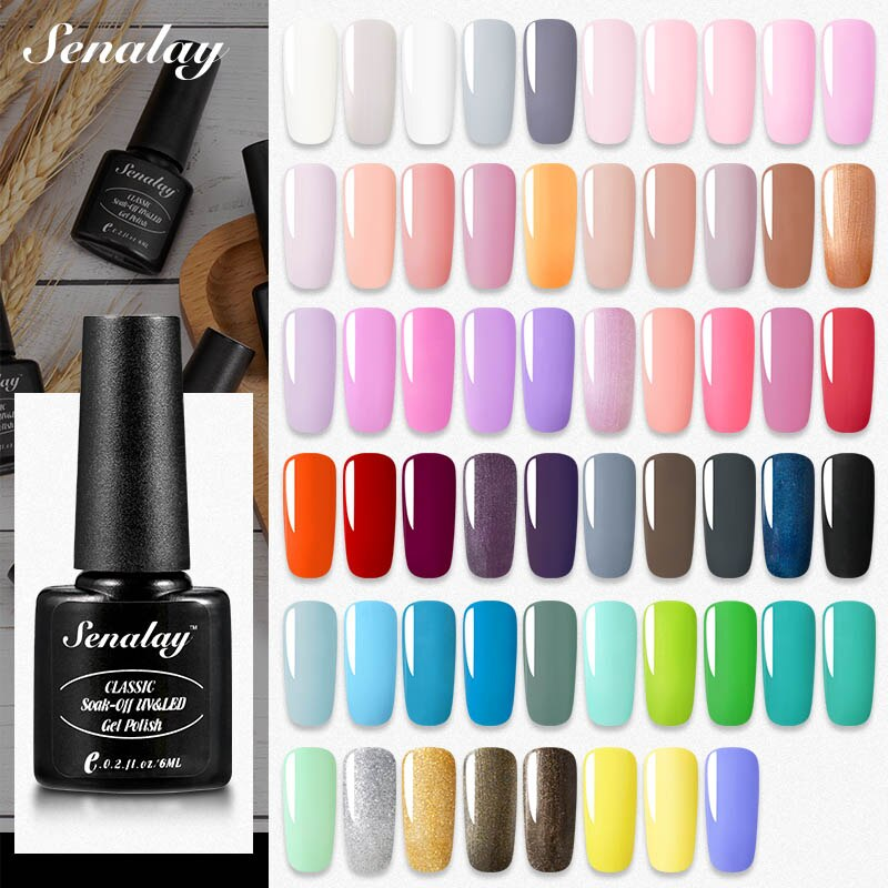 Gel de esmalte de uñas SENALAY, barnices híbridos de capa superior para base de manicura, set para pintura de uñas mate, lámpara UV LED, esmalte de uñas de Gel