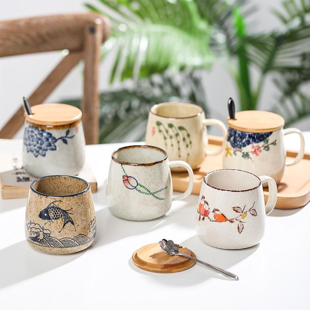 Taza de café Vintage, tazas de cerámica de estilo Retro japonés único, vaso de café de arcilla de 380ml, regalo creativo para amigos