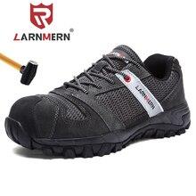 LARNMERN Men Steel Toe Cap Work Safety Shoe Genuine Leather Casual Anti-kick Footwear Outdoor Puncture Proof Sneaker