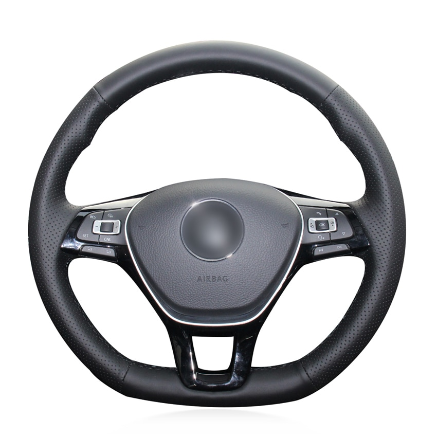 Schwarz Künstliche Leder Auto Lenkrad Abdeckung für Volkswagen VW Golf 7 Mk7 Neue Polo Passat B8 Tiguan Sharan Jetta sharan