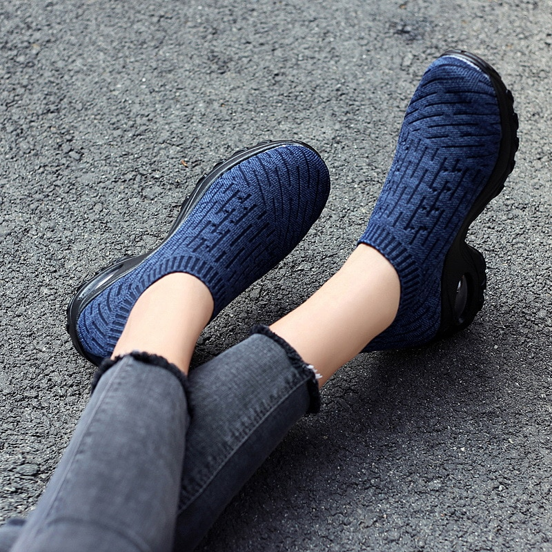 Summer Autumn Casual Women Shoes Slip on Platform Sneakers for Woman Fashion Black Mesh Sock Shoes Wide Loafers Womens Shoes 42  - buy with discount