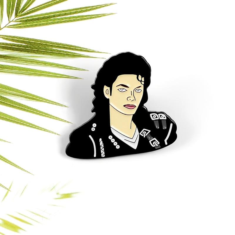 Idol Mike Jackson alfileres de metal negro punk largo de pelo bien conocido cantante fan equipo insignia denim camisa lapel pin joyería broche clásico