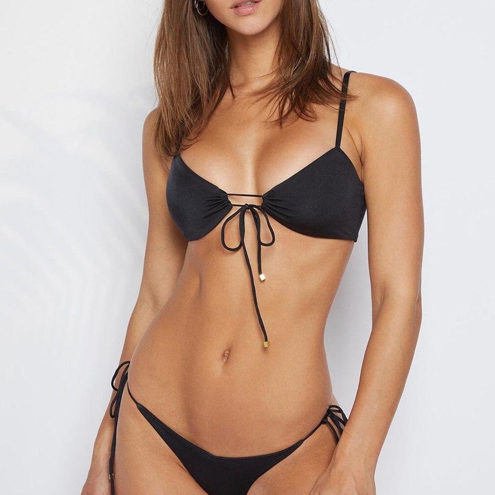 Bikini estampado swinsuit mujer nylon sin mangas cuello pico verano color sólido traje de baño para mujer playa verano traje