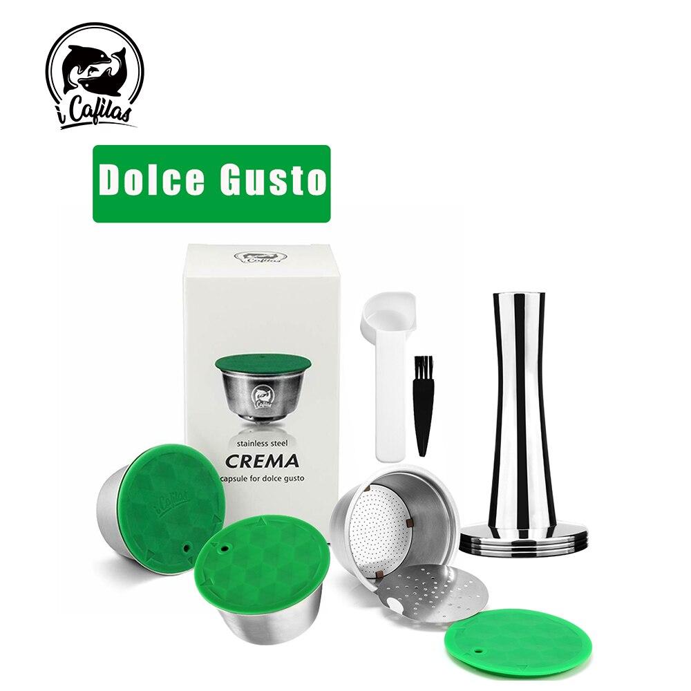 Cápsula recarregável reusável de icafilas para nescafe dolce gusto cápsula de café com tampa de metal inoxidável filtros copo colher de calcadeira