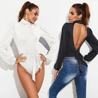 bodysuit women jumpsuit overalls bodycon long puff sleeve sexy thong bodysuit skinny body tops high neck backless black white