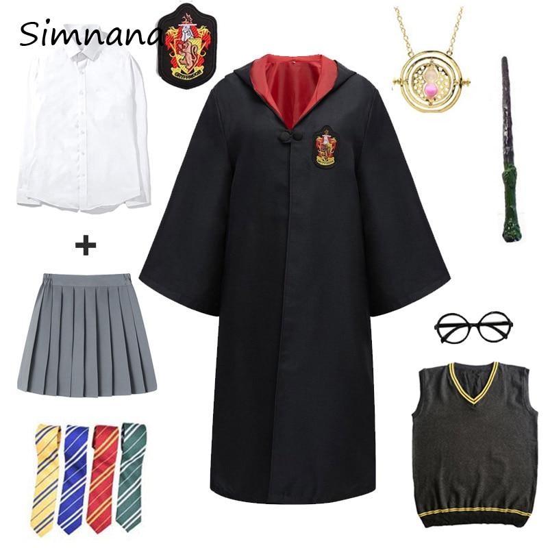 Disfraz de Cosplay de Potter, Túnica mágica, suéter de Cosplay de alfarero, pañuelo para Lazo, varita, ropa, regalos para Navidad y Halloween para niños y adultos