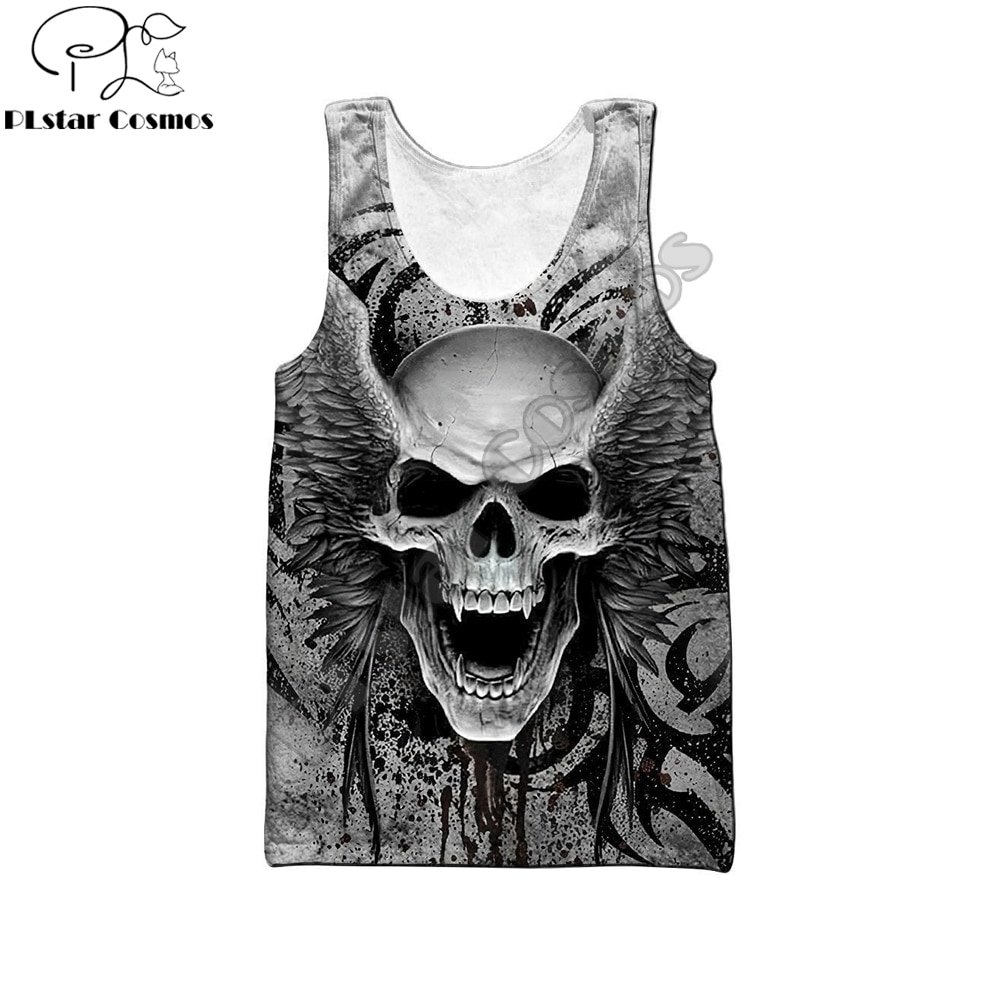 Beautiful Crazy Skull With Angel Wings 3D Printed men vest Harajuku Sleeveless T-shirt summer street