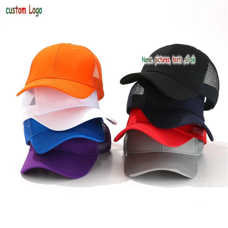 1 ps diseño libre personalizado cap100 % poliéster hombres mujeres gorra de béisbol en blanco malla ajustable sombrero adultos niños backnnap Cap
