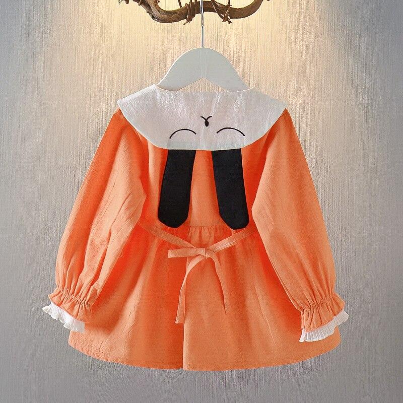 2020 Vestido de manga larga con cuello de muñeca con orejas de conejo para primavera y otoño para niños vestido de princesa hermoso de algodón para bebés