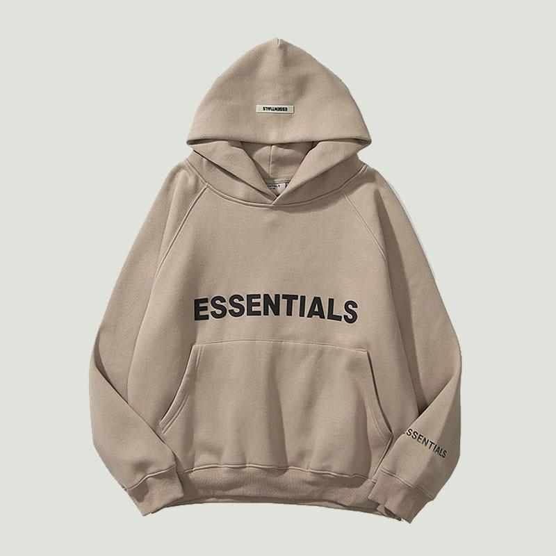 New Men's Essentials Hoodies Sweatshirts Reflective Letters Printing Fleece Oversized Hoodie Fashion