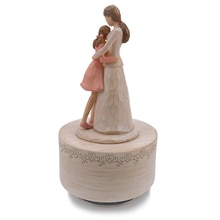 New Wooden Rotating Music Box Kids Toys Mother and Kids Resin Crafts Mother's Love Birthday Present