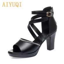 AIYUQI Women Sandals High Heels 2021 New Genuine Leather Sandals Women Rome Summer Fish Mouth Thick