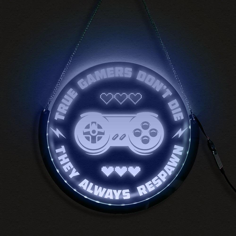 صحيح اللاعبين لا يموت ألعاب الفيديو الجولة الزخرفية النيون المعطي اللون جدار مصباح الإضاءة مجلس الحديثة لعبة اللاعبين هدية