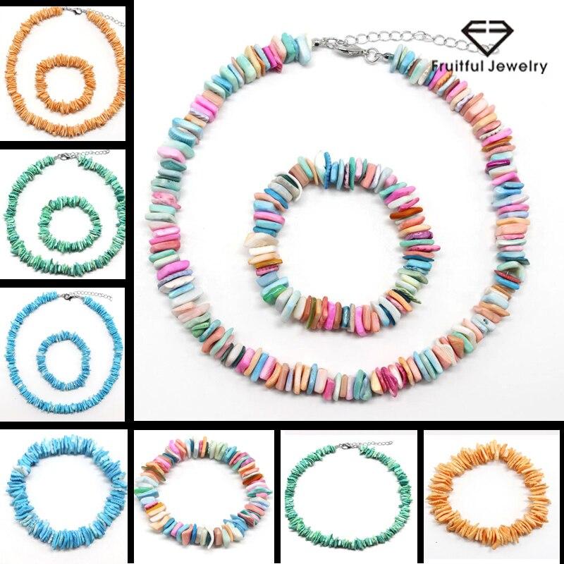 Conjunto de 2 unidades de collar de concha Irregular de estilo del océano Natural blanco, verde, azul o naranja, Gargantilla, cadena para mujer, envío gratis