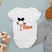 Disney Series Infant Romper Cartoon Printing Wine Glass Princess Baby Girl Boy Harajuku Fashion Summ