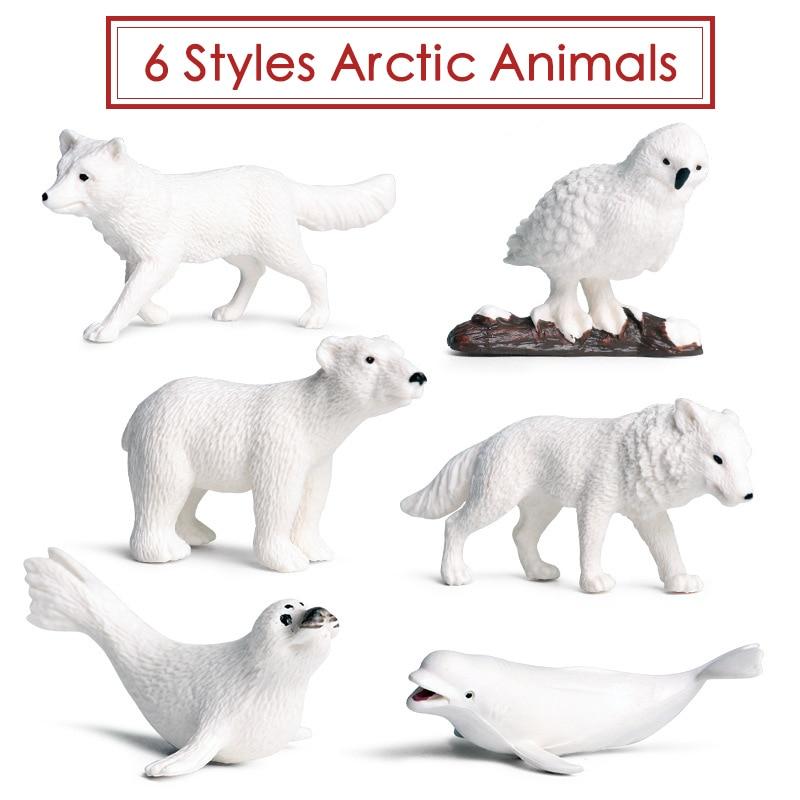 Acción y juguetes figura Mini Animal Ártico 6 unids/set PVC ballena blanca Oso Polar zorro ártico modelo coleccionable para regalo de chico