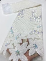 ni ai african sequins tulle mesh lace fabric 2020 high quality lace nigerian net lace fabrics for women party wedding in white