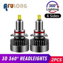 2PCS 6000K H7 led H1 H8 HB4 H11 HB3 LED Canbus 9005 9006 H9 9012 Car Headlight Bulbs 110W 360 Degrees Lighting 12000LM 12V Light
