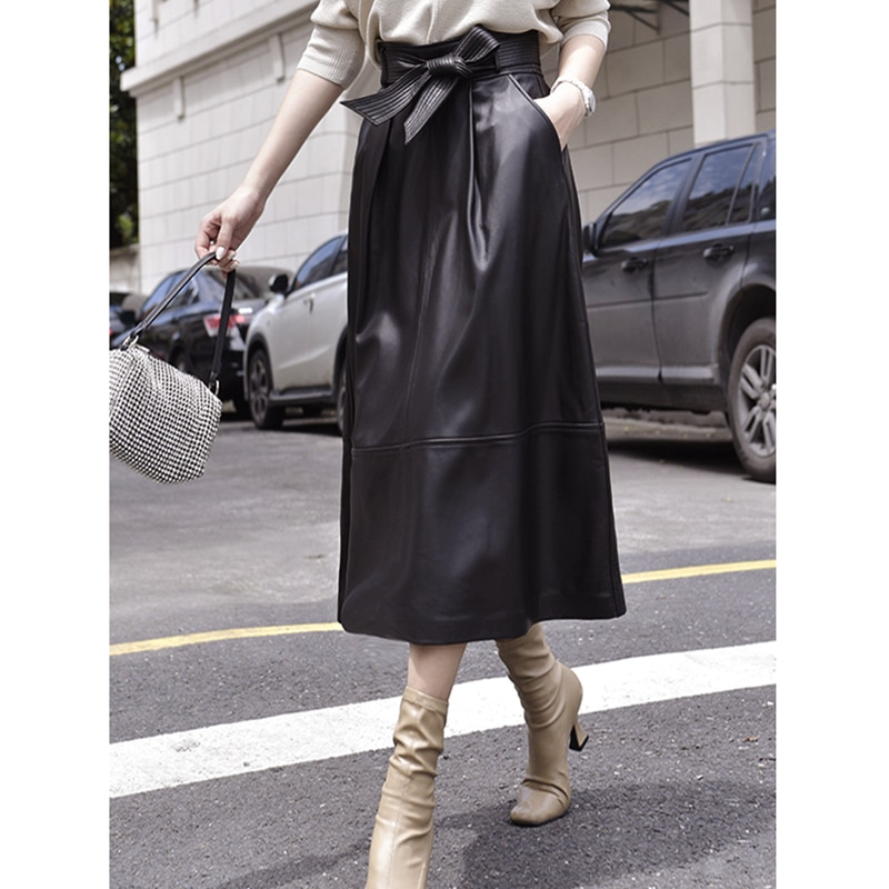 Leather Skirt Women Vintage Style 100% Sheepskin Shell A-Line Solid Sashes Pockets Mid-calf Autumn Skirts Ladies New Fashion