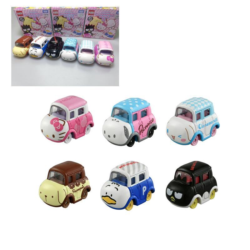 Cute Kawaii Sanrio Anime Hello Kitty Cinnamoroll Pachacco Bad Badtz-Marualloy Car Small Inertial Cars Kid Toy Christmas Present