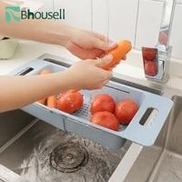 telescopic kitchen sink wash fruit and vegetable rack draining basket food storage basket kitchen storage tools and accessories