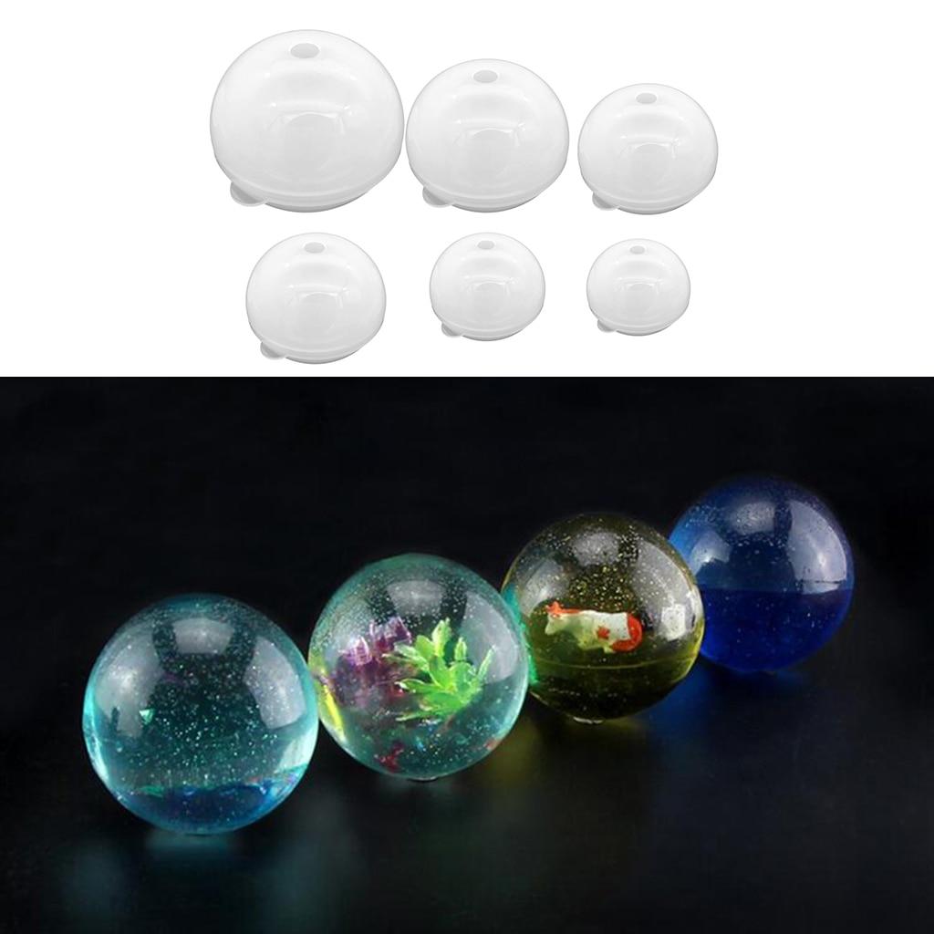 Molde de bolas de silicona de 6 tamaños, molde de esfera redonda, herramienta de adorno artesanal de resina DIY para fundición de resina epoxi 30/40/50/60/70/80mm