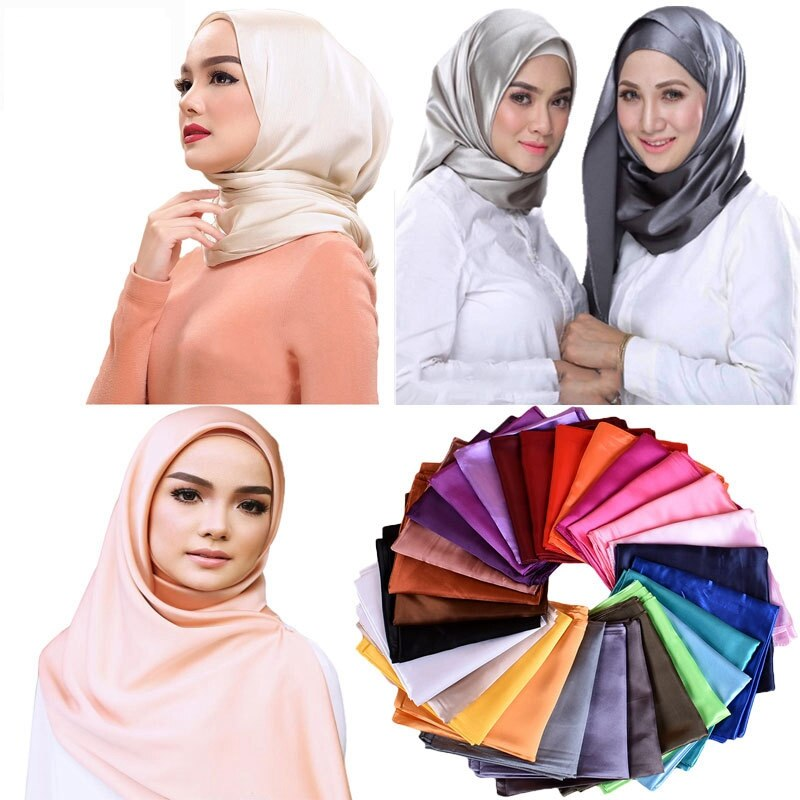90*90cm lenço de cetim muçulmano árabe feminino turbante hijab bandana senhoras sólida seda xale cachecóis lenço WJ-02B