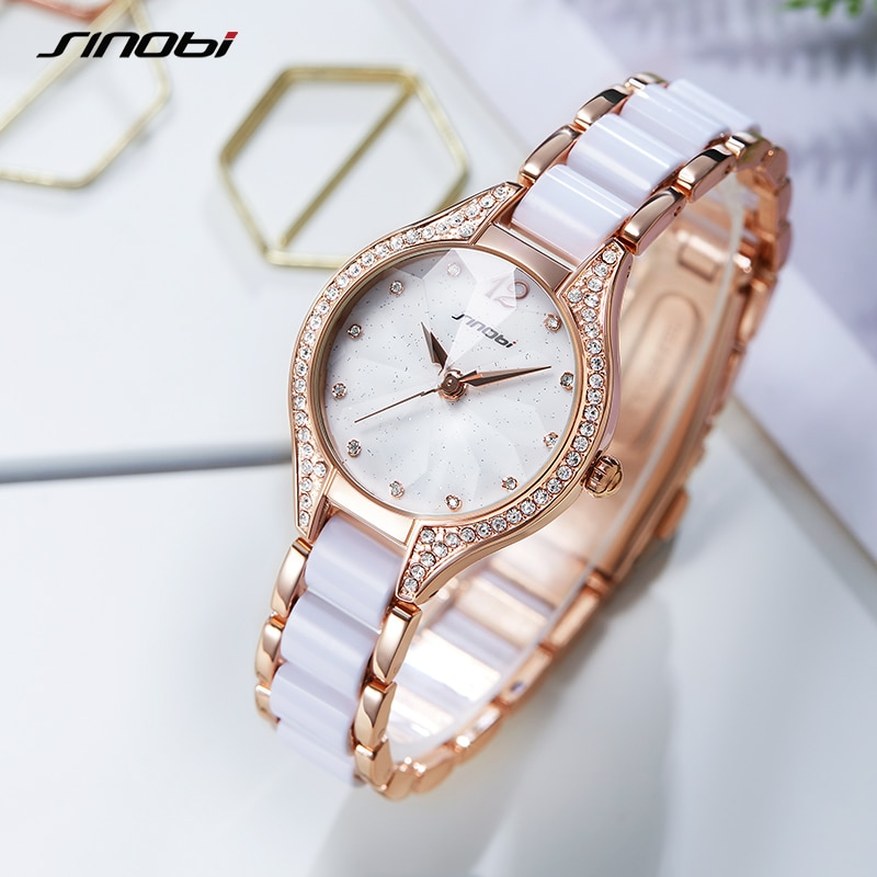 SINOBI Elegant Fashion Watch Fashion Hot Sales Watches Women Ladies Luxury Clock Golden Diamond Dropshipping Quartz Wristwatch