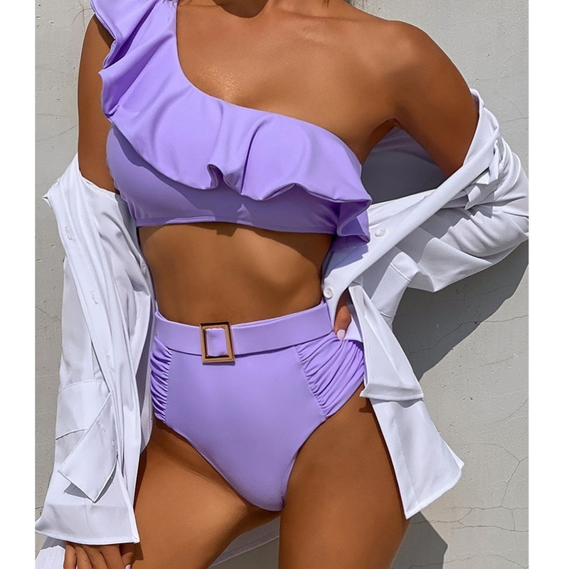 One Shoulder High Waist Bikinis 2021 Sexy Women Swimsuit Female Swimwear Femme Bikini Set Bathing Su