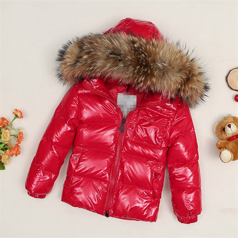 2020Winter new high-end down jacket children's large hair collar thick down jacket boys and girls short coat