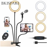 4 in 1 multi function flexible tiktok live video with 20cm led ring flash light mounts holder for microphones tripod 8inch lamp