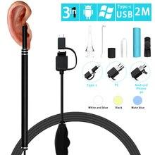 3 in 1 Ohr Reinigung Endoskop Kamera 2M 5,5mm HD USB Otoskop Endoskop Visuelle Ohr Löffel Micro Inspektion kamera Borescrope