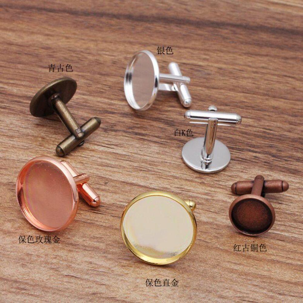 Wholesale 500pcs fit 12 14 16 18 20mm Round Bezel Cufflink Blank Jewelry Cabochon Settings Cufflinks Findings