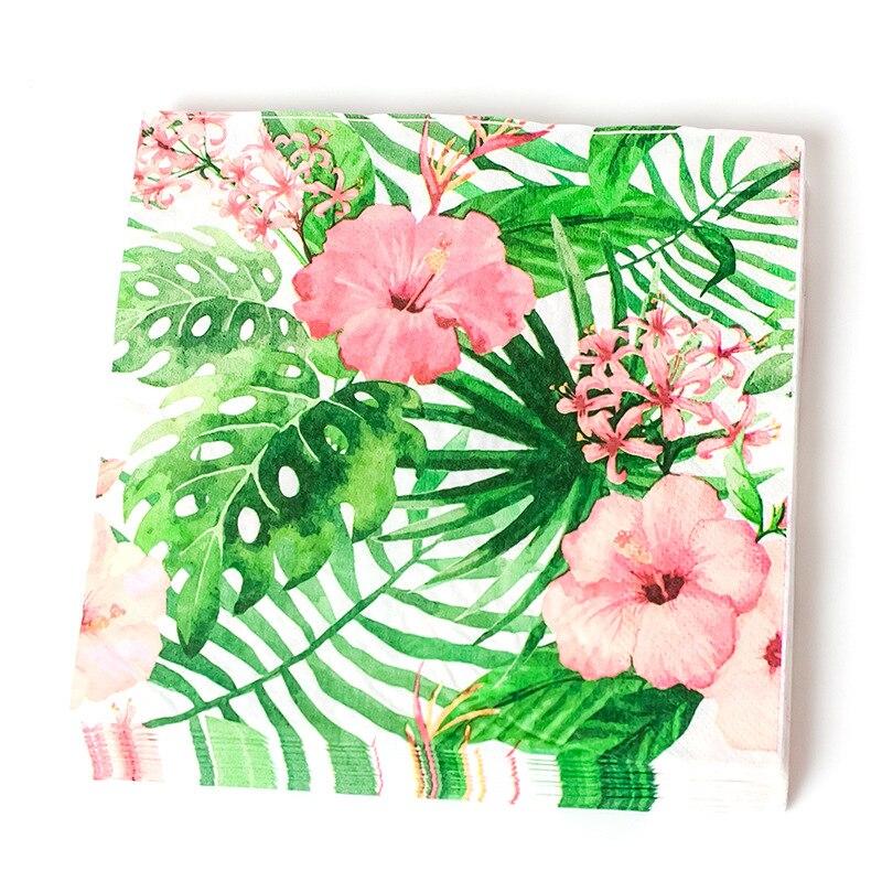 20 piezas fiesta Tropical decoración de hojas de palma Tropical fiesta de verano hojas de palma de papel desechable Hawaiano adornos fiestas